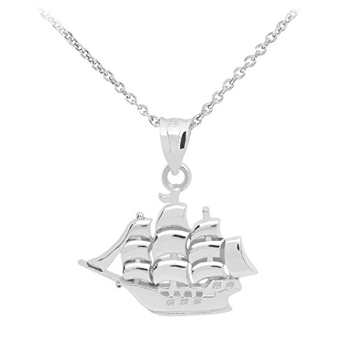 CaliRoseJewelry Sail Boat Pendant with Necklace in .925 Sterling Silver (18)