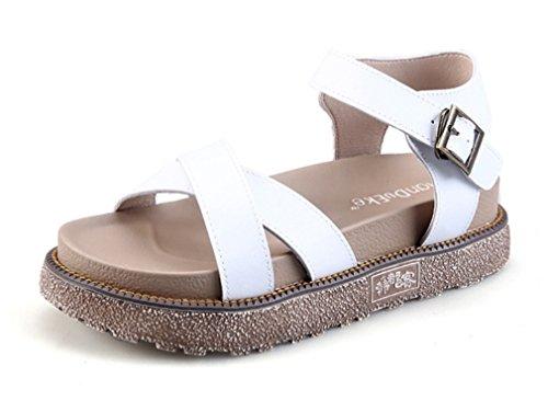 NVXIE Femmes Fille Slingback Appartement Ouvrir Doigt de Pied des Sandales Plage Été des Sandales Tongues Chaussures Taille 35-42 blanc