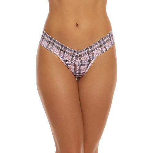 Hanky Panky Women's Clueless Low Rise Thong, Pink/Black, One Size