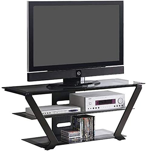 BOWERY HILL 50 Glass Top TV Stand in Black