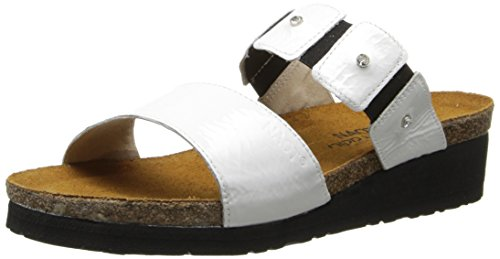 NAOT Women Ashley Wedge Sandal White Patent Leather