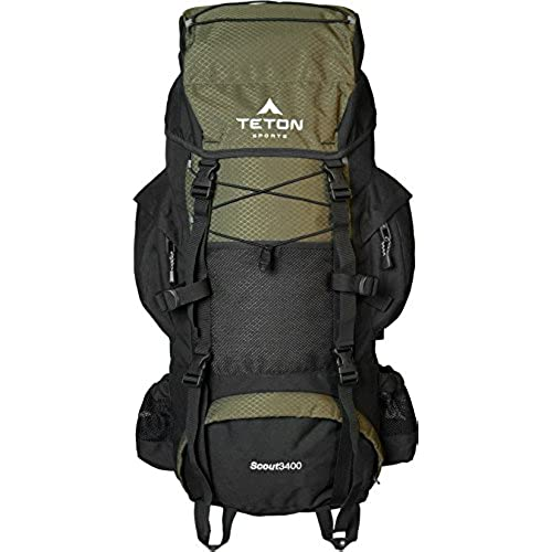 TETON Sports Scout 3400 Internal Frame Backpack Great Backpacking Gear Or Pack For Camping Hiking Hunter Green