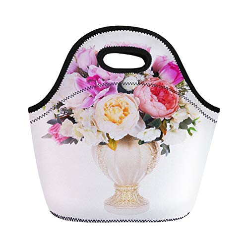 Semtomn Lunch Bags Red Beautiful Colorful Vase Floral Arrangement Green Alstromeria Beauty Neoprene Lunch Bag Lunchbox Tote Bag Portable Picnic Bag Cooler Bag