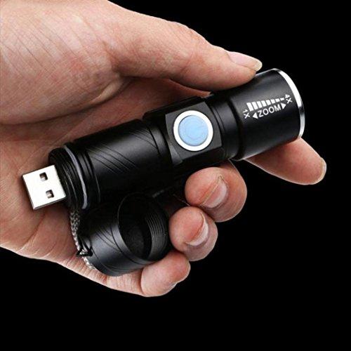 10principales tactique à LED Lampe de poche, 1000lumens 3modes Mini USB rechargeable Super Bright Zoomable Handheld lampe de camping