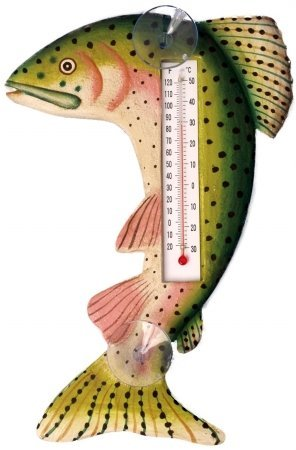 Songbird Essentials SE2172003 Leaping Trout Small Window Thermometer (Set of 1)