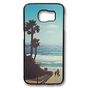 California Beach Palm Tree Theme Samsung Galaxy S6 Case PC Material Black