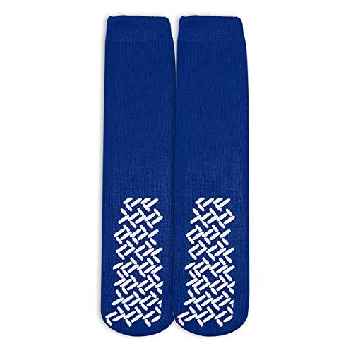 Tred Mates - Nobles Assorted Anti Skid/No Slip Hospital Gripper Socks, Adults, Men, Women. Designed for Medical Hospital Patients  for Everyone (Royal Blue)