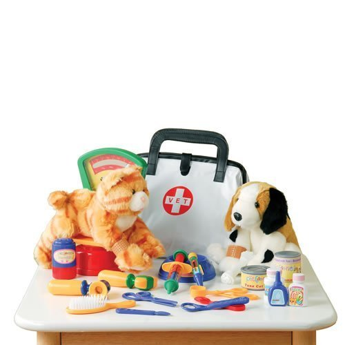 Pretend Play Veterinarian 30 Pc. Playset with Stuffed Puppy & Kitty