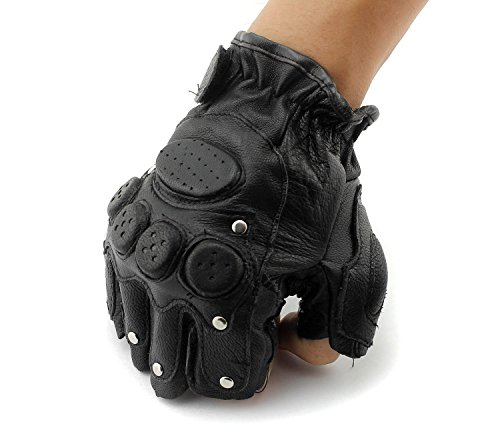 Men's Stud Biker Punk Driving Motorcycle Fingerless Leather Gloves LB06