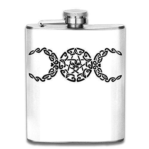 Pocket 304 Stainless Steel Hip Flask, Pentacle Crescent Moon Hunting Wine Pot, 7 OZ Pocket ()