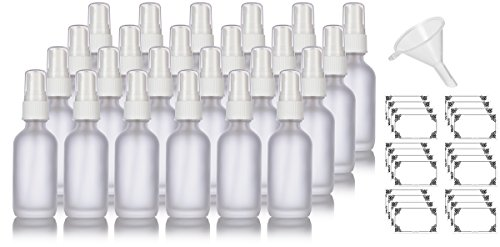 2 oz Frosted Clear Glass Boston Round White Fine Mist Spray Bottle (24 pack) + Funnel and Labels for essential oils, aromatherapy, food grade, bpa (White Bottle Spray)