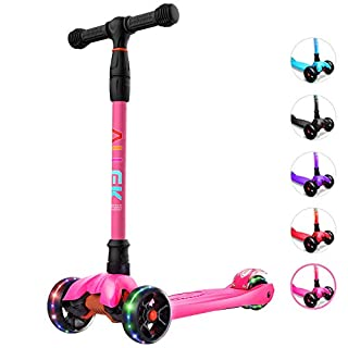 Allek Kick Scooter B02, Lean 'N Glide Scooter with Extra Wide PU Light-Up Wheels and 4 Adjustable Heights for Children from 3-12yrs (Rose Pink)