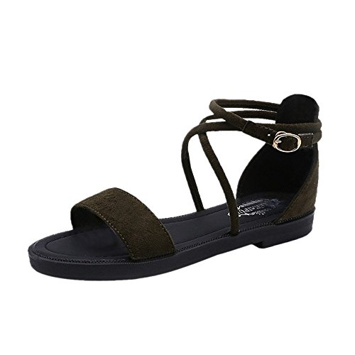 huateng 2018 Frühling und Sommer Neue Frauen Sandalen Schnalle Schuhe mit Low-Heels Flache Schuhe Grün