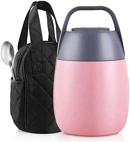 Waxfhzz ステンレス保冷バッグ付きランチ魔法瓶ポータブルランチボトル、真空熱ランチコンテナ、漏れ防止フードジャー真空魔法瓶は、外出先でホットランチを楽しみます。(青色) (Color : Pink)