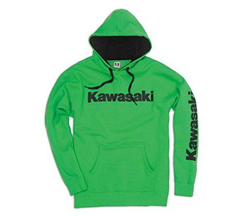 Kawasaki Mens Logo Hooded Sweatshirt Green (Large)