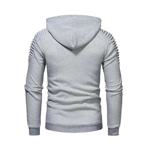 Sleeve Hooded Tops Long Patchwork Autum Winter Gray Pocket Outwear Solid Fashion Sweatshirt BHYDRY Mens' qnxgSwXZ8