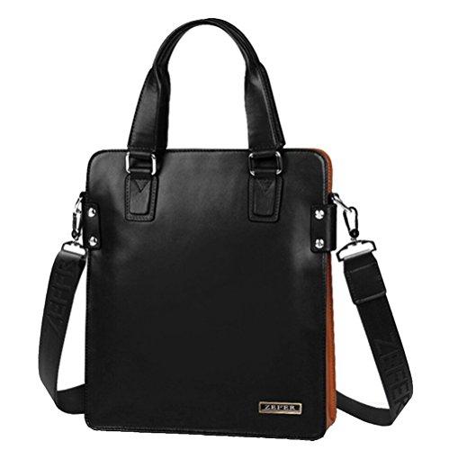 Bestoo Men's Leather Shoulder Messenger Bag Handbag Chest Satchel Briefcase Contrast Color Ipad Bags (Black&orange)