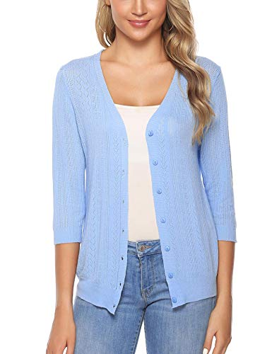 iClosam Women Knitted Bolero Shrug Long Sleeve Crochet Button Down Cardigan Sweater (#5Sky Blue, Large)