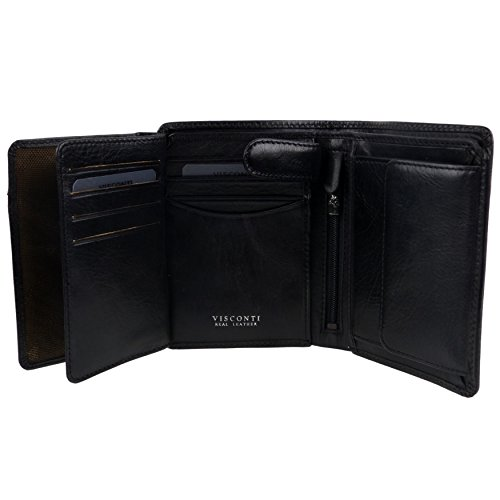 Protected Gift Italian Visconti Tan by Fold Tri Stylish RFID Box Black Leather Mens Wallet nfwdqIxaq