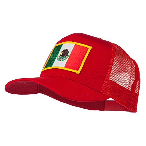 Mexico Flag Patched Mesh Cap - Red OSFM - Hats De Mexico