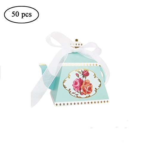 AISHOPE 50PCS Mini Teapot Wedding Favor Boxes Bonbonniere Gift Candy Box with Ribbons for Wedding, Birthday Party Decorations, Green