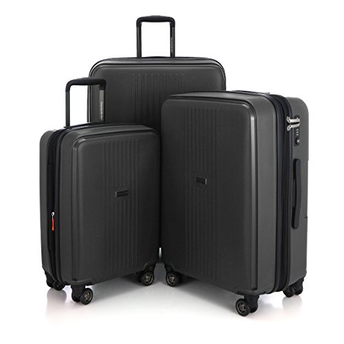 "HAUPTSTADTKOFFER - Ostkreuz - Set of 3 Hard-side Luggages matt Suitcase Hardside Spinner Trolley Expandable (20"", 24"" & 28"") TSA F-Black by Hauptstadtkoffer"
