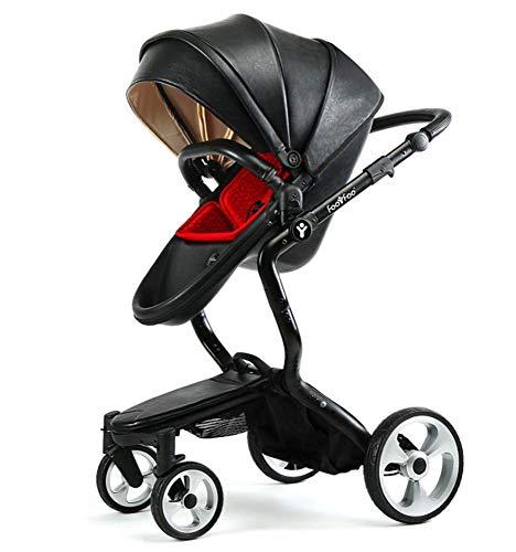Olydmsky Carro bebe,Bebe cochecito silla de paseo High-paisaje dos vias reclinable cuero ligero de cuatro ruedas mesa plega