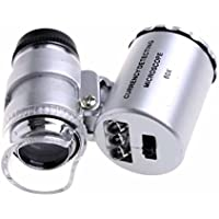 Goliton® Mini Microscope de Poche 60x Loupe de poche portable Bijoutier LED Lampe Loupe-argenté
