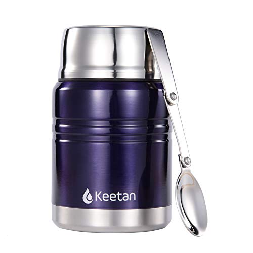 Keetan Vacuum Insulated Food Jar 18/8 Stainless Steel Lunch Box with Folding Spoon Double Walled Food Container BPA Free(Blue,17OZ)