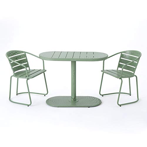 Great Deal Furniture Porto Outdoor 3 Piece Crackle Green Finished Iron Bistro Set