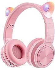 Picun Kattenoren Bluetooth hoofdtelefoon draadloos inklapbare Cat Ears over-ear headsets met microfoon LED-licht voor meisjes en vrouwen - roze