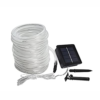 Meikee 33ft 100 LED Solar Rope Lights, Waterproof Outdoor Rope Lights, 6000K Daylight White, Portable, LED String Light with Light Sensor, Ideal for Wedding, Party, Decorations, Gardens, Lawn, Patio