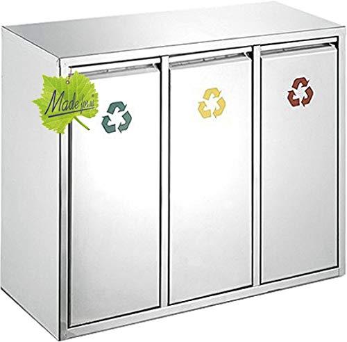 Made for us 24 L Edelstahl Wand-Abfalleimer 3x8 L Mülleimer 3-fach Mülltrennung 3er Müll-Trennsystem 24 Liter Abfallsammler zur Abfall-Entsorgung. Das original
