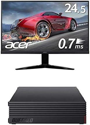 BUFFALO 外付けハードディスク 2TB テレビ録画/PC/PS4/4K対応 HD-AD2U3 + Acer ゲーミングモニター KG251QGbmiix 24.5インチ 0.7ms 75hz TN FPS向き フルHD 非光沢 フレームレス