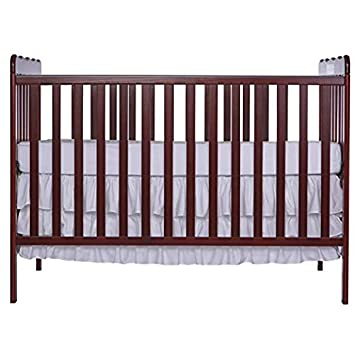 Dream On Me, Carson Classic 3 in 1 Convertible Crib in Cherry with Spring Crib and Toddler Bed Mattress, Twilight
