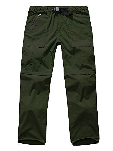 Men's Outdoor Anytime Quick Dry Convertible Lightweight Hiking Fishing Zip Off Cargo Work Pant #6062-Army Green,29