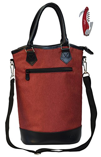 Vina 2 Bottle Wine Tote Bag - Thermal Insulated Champagne Purse Cooler Carrier with Strong Handle and Shoulder Strap, Great for Travel and Restaurants, Picnics, Red