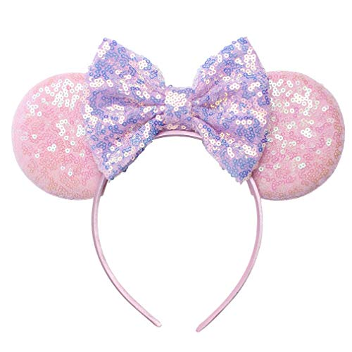 YanJie Mouse Ears Bow Headbands, Glitter Party 4th July Mermaid Decoration Cosplay Costume for Children & Adults (MKL-Pink Ear) -
