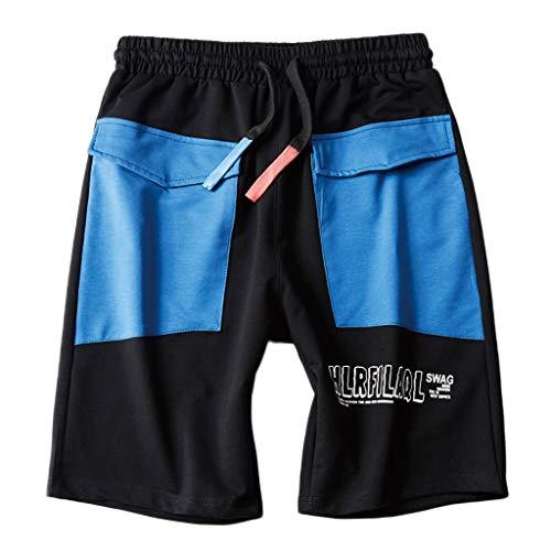 (Men's Summer Casual Shorts Elastic Waist Drawstring Splice Sports Training Pant Blue)