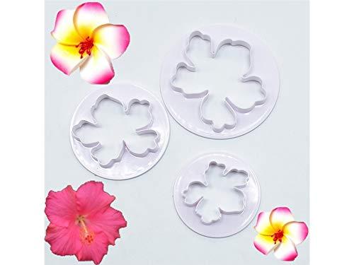 3pcs / set hawaiano fiore stampo in acciaio inox taglierina del biscotto set pasticceria strumento di pasticceria (bianco) YesDone