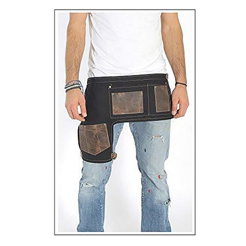 Half-Waist Leather Tool Apron, Heavy Duty Canvas Work Bib Apron, Waterproof Garden Tool Apron with Pockets WQL207