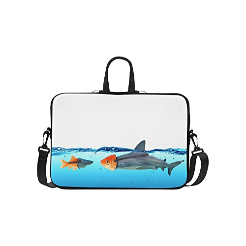 InterestPrint Funny Disguise Between Shark and Goldfish 15 15.6 Inch Waterproof Neoprene Laptop Notebook Sleeve Shoulder Bag with Handle & Strap for MacBook Dell HP Acer Tablet Woman Man