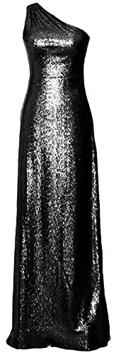 MACloth Women One Shoulder Long Bridesmaid Dress 2017 Sequin Formal Evening Gown Negro