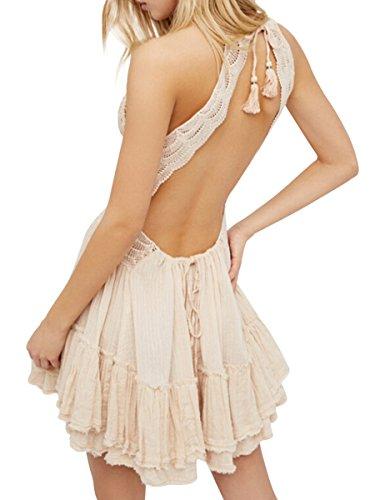 Licol En Mode Ca Femmes Bohême V-cou Crochet Dentelle Backless Partie Bal Cocktail Plage Mini Robe Beige