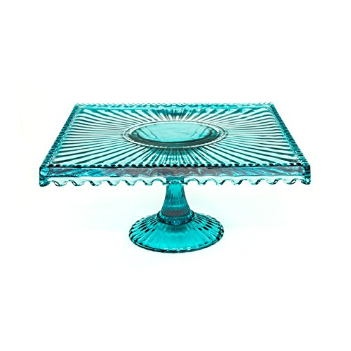 (Alexandra Glass Square 10 inch Cake Stand - Blue)