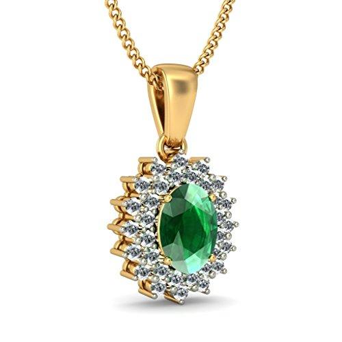 Or jaune 18K 0,32CT TW Round-cut-diamond (IJ | SI) et pendentif Émeraude