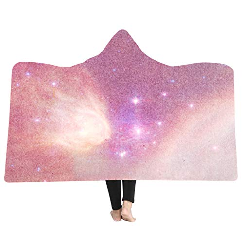 (MONISE-honme 3D Galaxy Star Print Super Hooded Blanket,Hooded Throw Blanket Soft Cloak Wearable Hooded Blanket for Adult(B))