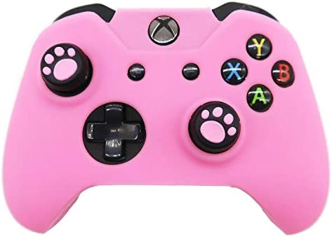 Xbox One Controller Skin Pink, BRHE Anti-Slip Silicone Cover Protector Case Accessories Set for Microsoft Xbox 1 Wireless/Wired Gamepad Joystick with 2 Cat Paw Thumb Grips Caps (Pink)