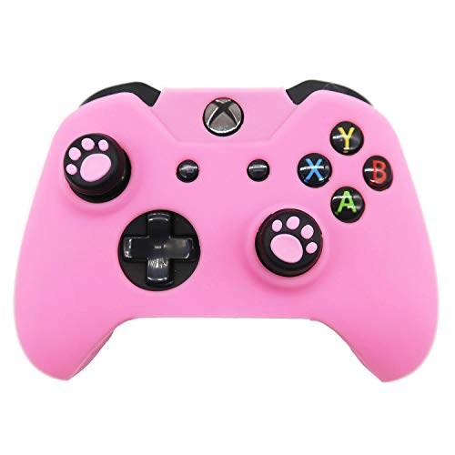 Xbox One Controller Skin Pink, BRHE Anti-Slip Silicone Cover Protector Case Accessories Set for Microsoft Xbox 1 Wireless/Wired Gamepad Joystick with 2 Cat Paw Thumb Grips Caps - Pink