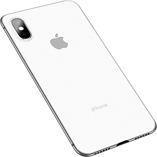 IHAITUN iPhone X Case,Ultra Thin PC Phone Case Cover Hard Plastic with Micro Matte Translucent [ Shock-Absorbing] for Apple iPhone X (2017),Transparent White - Transparent Hard Case